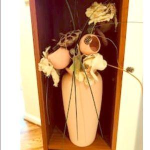 Other - PInk ceramic vase w/silk florals  vintage